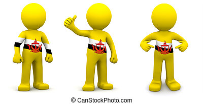 3d character textured with flag of Brunei
