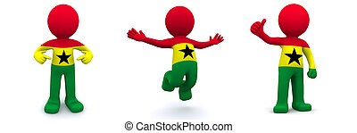 3d character textured with flag of Ghana isolated on white background