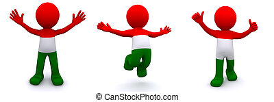 3d character textured with flag of