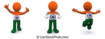 3d character textured with flag of India