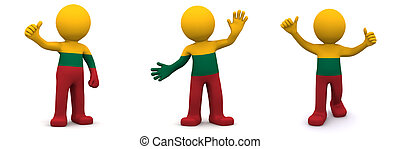3d character textured with flag of Lithuania isolated on ...