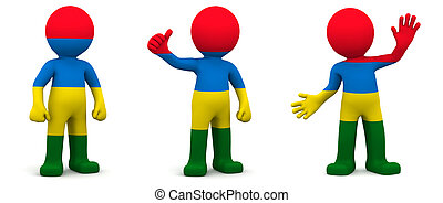 3d character textured with flag of Mauritius