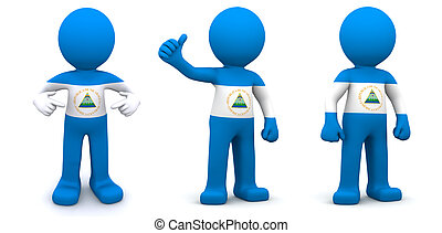 3d character textured with flag of Nicaragua