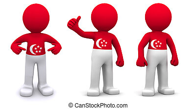 3d character textured with flag of Singapore isolated on...