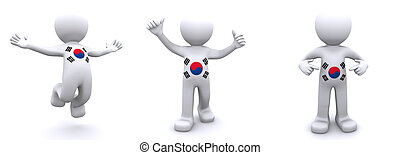 3d character textured with flag of South Korea isolated on ...