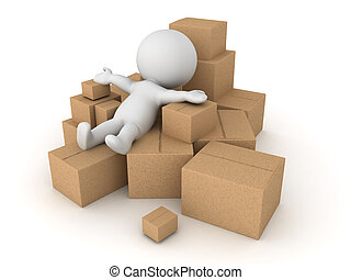 3D Character thrown into a pile of different boxes