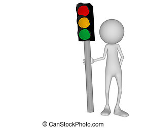 3d character traffic signal sign