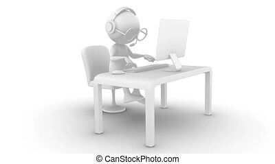 3d white character typing on computer. Isolated on white, seamless, included alpha channel