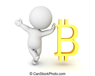 3D Character waving and leaning on bitcoin symbol