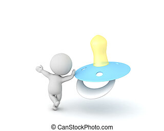 3D Character waving and leaning on pacifier. Isolated on...