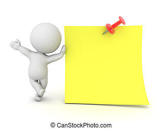 3D Character waving and leaning on post it note with red pin