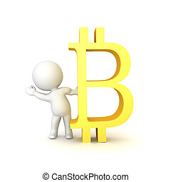 3D Character waving from behind a bitcoin logo