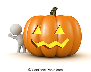 A 3D character is waving from behind a carved Jack-O-Lantern pumpkin. Isolated on white background.
