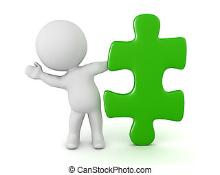 3D Character Waving from Behind a Puzzle Piece - 3D...