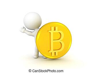 3D Character waving from behind bitcoin