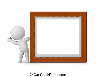 3D Character Waving from Behind Decorated Diploma Frame - 3D...