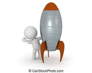 3D Character Waving from behind Rocket