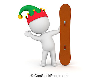 3D Character Waving from Behind Snowboard