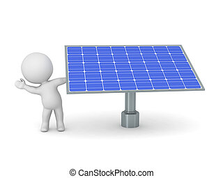 3D Character waving from behind Solar Panel