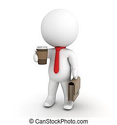 3D Character wearing a red necktie holding a cup of coffee ...
