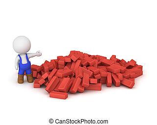 3D Character Wearing Blue Overalls Showing Pile Of Red Bricks