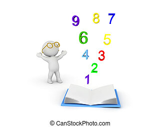 3D Character wearing glasses looking up at numbers rising from an opened book