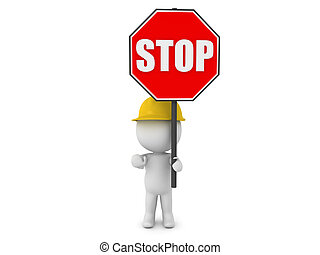 3D Character wearing hard hat holding a stop sign