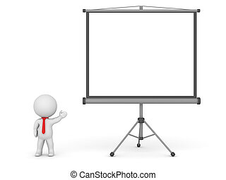 3D Character Wearing Red Tie Showing Large Projector Screen
