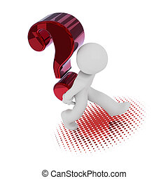 3d character with a big red question mark