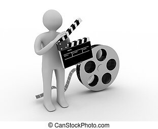 3D character with a film clapper