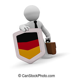 3d character with a German badge