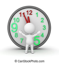 3D Character with a large clock behind him. Isolated on...