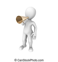 3d character with a loudspeaker