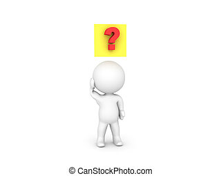 3D Character with a yellow sticky note and question mark above him