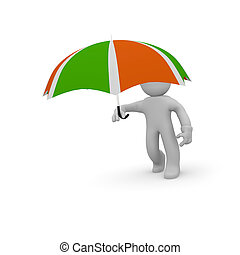 3d character with an umbrella