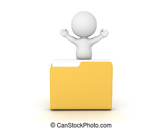 3D Character with arms raised sitting inside a folder