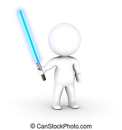 3D Character with Blue Light Saber - 3D character holding a...