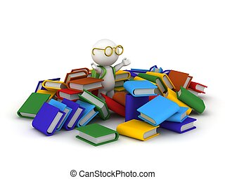 3D Character with Books
