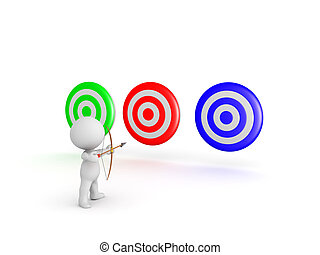 3D Character with bow and arrow aiming at multiple targets