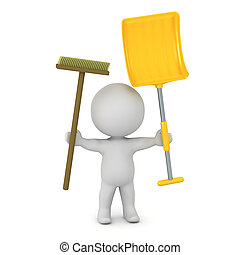 3D Character with Broom and Shovel