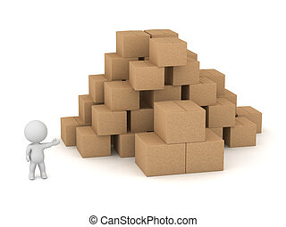 3D Character with Cardboard Boxes