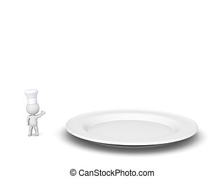3D Character with Chef Hat Showing Very Large Plate