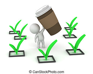 3D Character with Coffee and Finished Tasks - 3D character...
