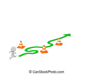 3D Character with Curved Arrow and Obstacles