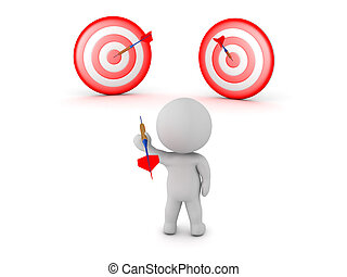 3D Character with Dart Arrow and Two Targets