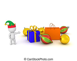 3D Character with Elf Hat Showing Gift Bag, Wrapped Gift Box, and Colorful Globes