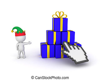 3D Character with Elf Hat Showing Gift Boxes and Click Hand Cursor