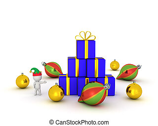 3D Character with Elf Hat Showing Gifts and Globes