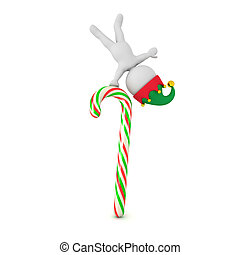 3D Character with Elf Hat Standing in One Hand on Candy Cane Pole