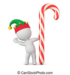 3D Character with Elf Hat Waving from behind Large Candy Cane